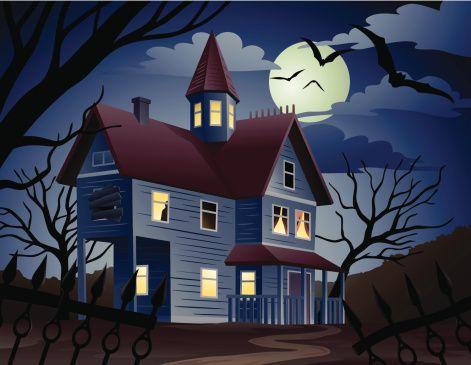 cartoon art haunted house - Google Search