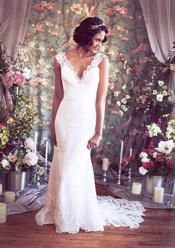Cap V manga larga cuello sirena vestido de novia de por rschone