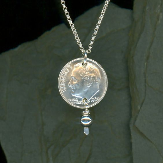 50th Birthday Gifts 1966 Dime Pendant Sterling Chain