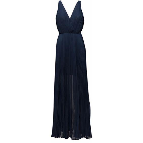 Dagmar Reese Dress (2,130 PEN) ❤ liked on Polyvore featuring dresses, maxi, navy blue, deep v neck dress, blue pleated dress, pleated dress, long dresses and navy blue maxi dress