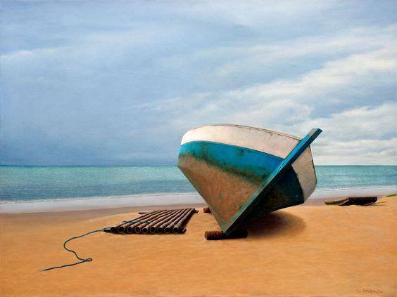 Cristina Strapação, Título: Barco azul em Dia de Tempestade, Óleo sobre tela, 60 x 80 cm.