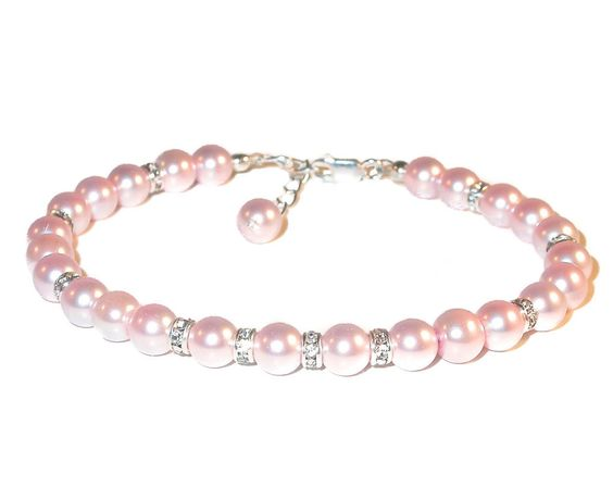 ROSALINE PINK Pearl Bracelet Sterling Silver Bride's Bridal Swarovski Elements by CharminglyYoursToo on Etsy