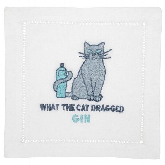 """What the Cat Dragged Gin"" Cocktail Napkin Set - Waiting On Martha"