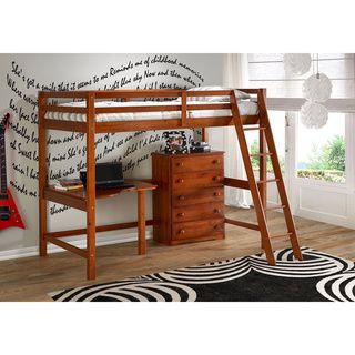 Twin Modular Study Loft with 5-drawer Chest