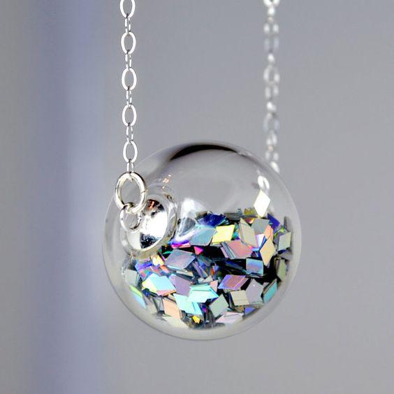 Collar de plata bola de prisma brillo mano vidrio soplado: