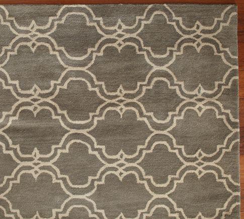 scroll tile rug, gray, pottery barn