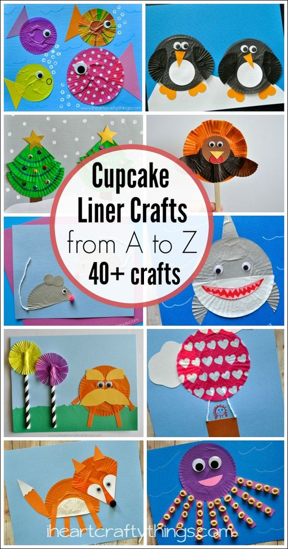 Cupcake Liner Crafts for Kids for every letter of the alphabet from A to Z. A cute way to work through learning the letters of the alphabet or to craft just for fun.