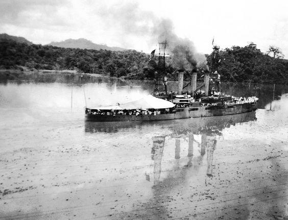 Lot 5415-6:  USS Missouri (Battleship #11) in Gatun Lake, Panama Canal, July 16, 1915.   Collection of Secretary of the Navy Josephus Daniels.