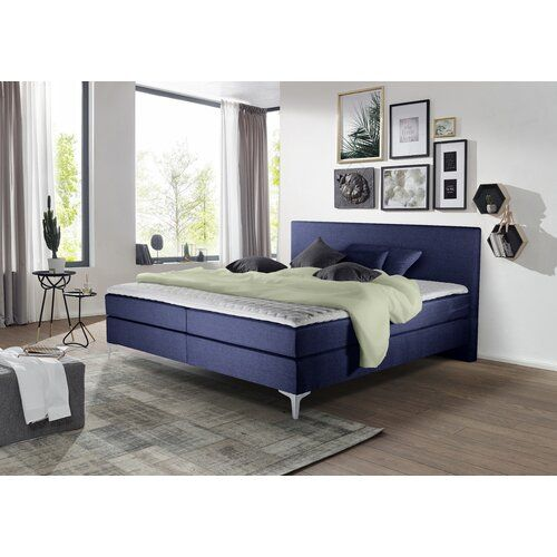 Boxspringbett Longridge Mit Topper Und Bettkasten Rosalind Wheeler Liegeflache 180 X 200 Cm Hartegrad Der Matratze H3 Ab Ca 80 Kg Farbe Blau In 2020 Home Decor Furniture Bed