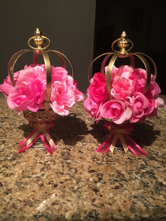 Crown centerpieces princess theme pink and