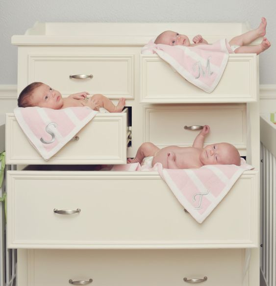 Triplet Girls' Nursery - see more of this adorable gray triplets nursery with pops of lime and coral!