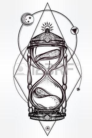 Tiré par la main romantique beau dessin d'un sablier. Vector illustration isolé. Conception de tatouage, symbole mystique de temps pour votre usage.