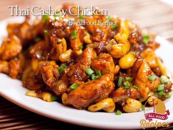 Thai Cashew Chicken Recipe Main Dishes with boneless chicken breast, olive oil, garlic, fish sauce, oyster sauce, sugar, corn starch, black pepper, raw cashews, pepper flakes, green onions, water