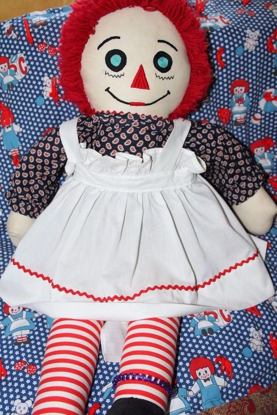 Large Raggedy Ann Doll with Raggedy Ann and Andy Quilt