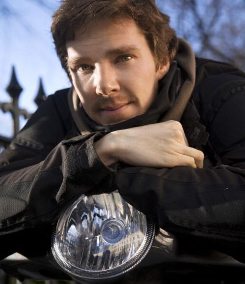 Benedict Cumberbatch has so many different looks. Here he is on his motorbike.