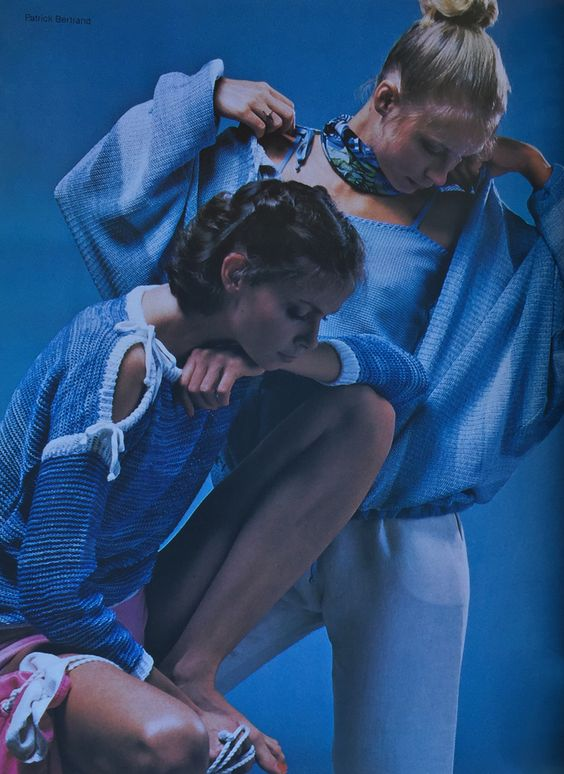 Courreges & Emmanuel Ungaro- 1978 Blue knit acrylic sweater with pink terry shorts by Courreges.  Blue knit cotton tank top and sweater set over white linen pants by Ungaro. L'Officiel USA May/June 1978