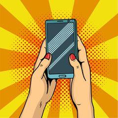 Hands holding smartphone pop art. Female hands hold a mobile phone. Illustration.