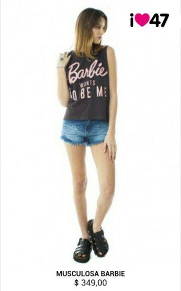 47 street. Super linda remera de la colección de barbie. Visita el sitio para ver más de esta colección http://www.47street.com.ar/store/barbie.html.      ~te gusta la pose de la modelo?? Si, entonces dale like~