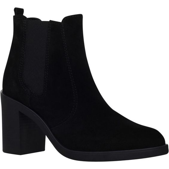 KG by Kurt Geiger Sicily High Heel Ankle Boots, Black Suede (€110) ❤ liked on Polyvore featuring shoes, boots, ankle booties, block heel booties, short black boots, high heel ankle boots, flat ankle boots and black ankle booties