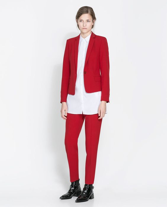ZARA BLAZER WITH NARROW LAPELS | short blazer with long shirt ...