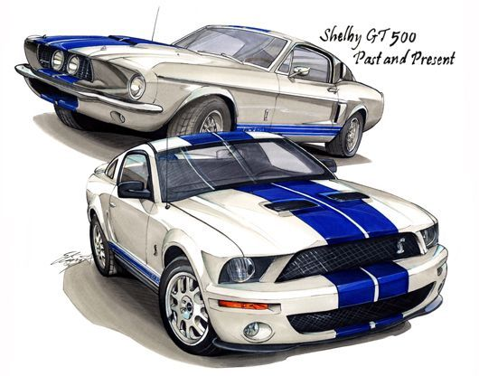 1967 Ford Mustang Shelby Gt500 Drawing With Images Car Wheels