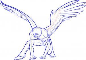 how to draw anime wings, draw an anime angel step 16