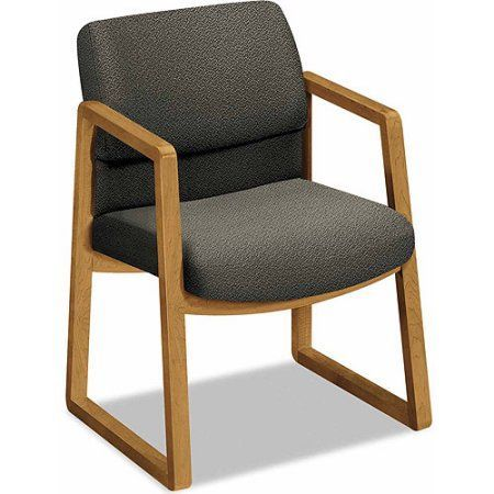 Hon 2400 Series Guest Arm Chair, Harvest Finish, Gray