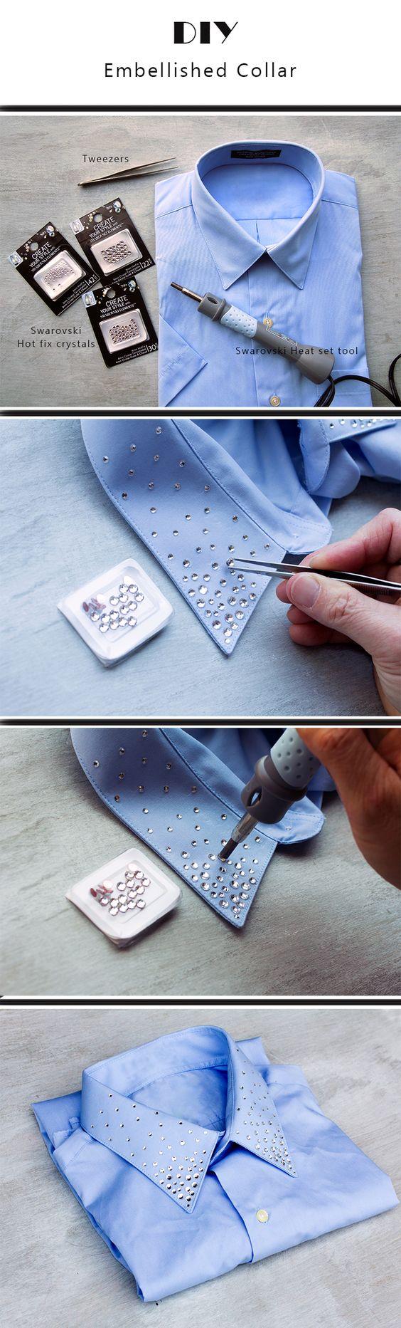 Cuello de camisa con cristales