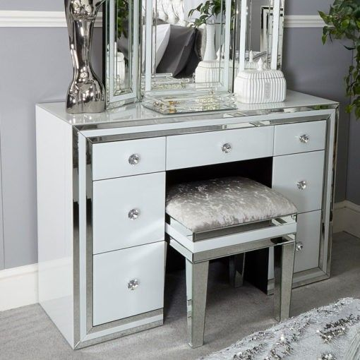 Madison White Glass 7 Drawer Mirrored Dressing Table Ssl Encryption Secured By Mcafee Data Insu Mirrored Bedroom Furniture Dressing Mirror Mirror Bedside
