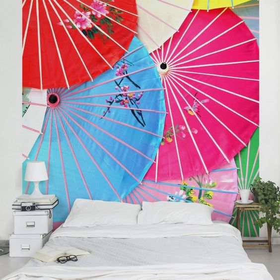 #Vliestapete - Chinese Parasols - Fototapete Quadrat  #Ethno #Style #Muster #bunte #Farben #Lebensfreude #Wohnstil