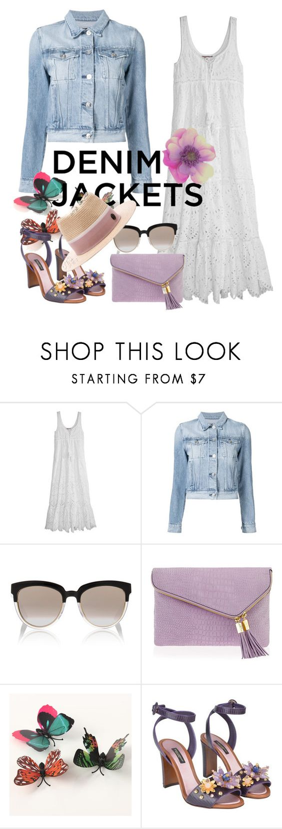 """Untitled #447"" by m-jelic ❤ liked on Polyvore featuring Calypso St. Barth, 3x1, Christian Dior, Henri Bendel, Dolce&Gabbana, Maison Michel, denimjackets and WardrobeStaples"