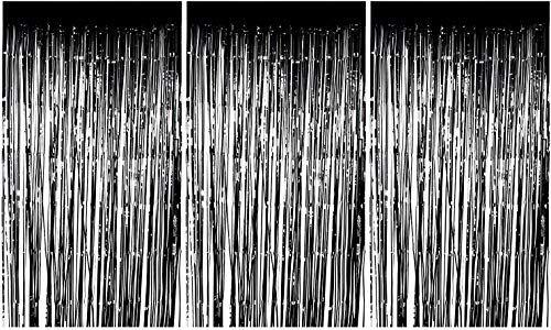 Foil Fringe Curtains 3 Pack Metallic Black Foil Curtain