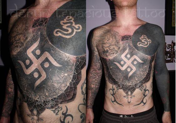 tenacioustattoo:    Swastika and surrounding mandala by me, Deryn Twelve Tattoo, Sheffield, UK.  (All other tattoos were already there)  dotwork http://www.facebook.com/tenacioustattoo