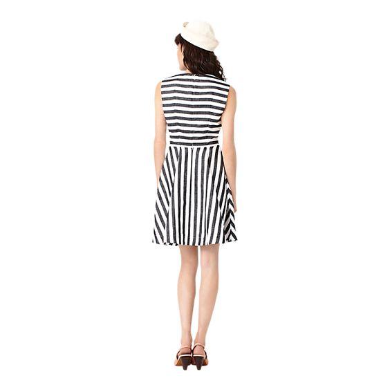 Seamed Dress in Black Wide Stripe - Kate Spade Saturday