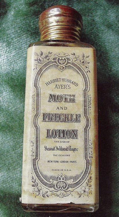 A bottle of Harriet Hubbard Ayer's Moth and Freckle Lotion. Moth was a Victorian term for a facial blemish.