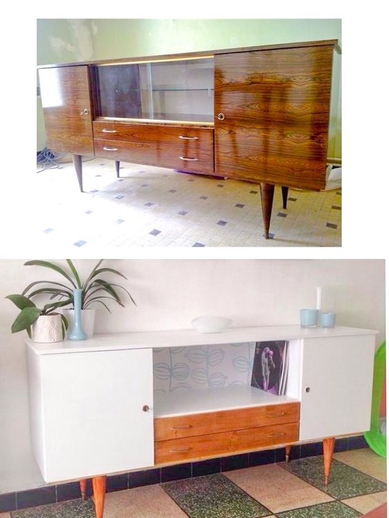 Enfilade vintage pieds compas relookée Peinture + changement tiroir  MidCen -> Enfilade Ikea