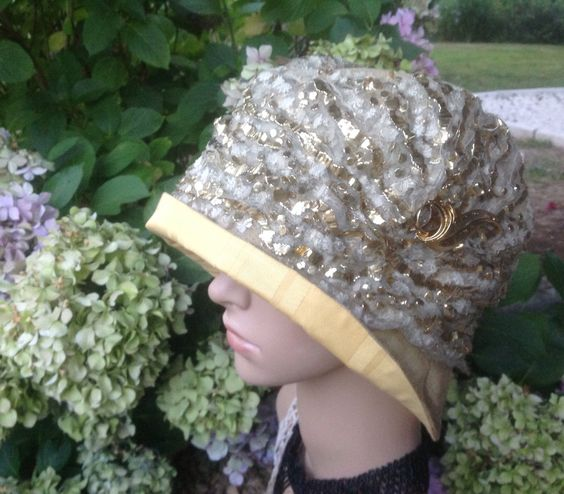 """FREE SHIPPING Gold Replica Art Deco Cloche Hat with Authentic 1930s Metalic Embroidered Tulle Decoration. True Flapper Fashion. 24"""" circum. by FleursEnFrance on Etsy"""