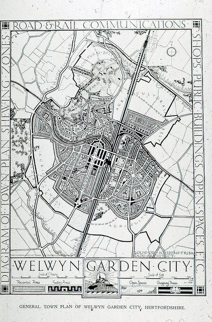 General Plan Of Welwyn Garden City 1920 Layout Architecture Planer Hofgestaltung
