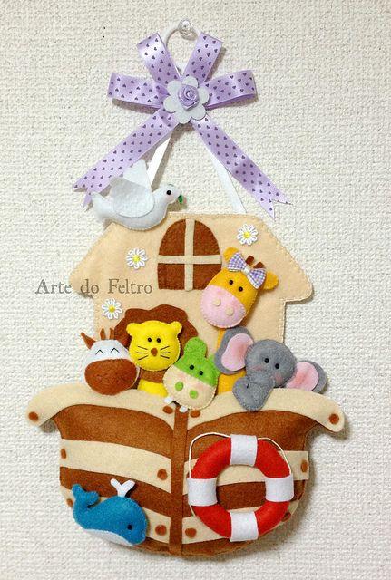colgante pared:Arca de Noé con animalitos