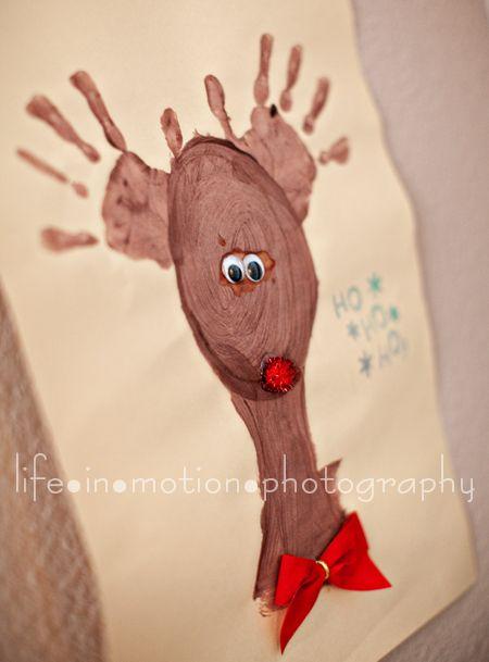 Hand print reindeer - cute idea for Payton. She LOVES Rudolph!