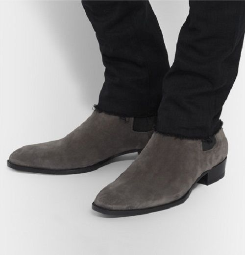 Details about New Handmade men Gray ankle high boot, Men suede ...