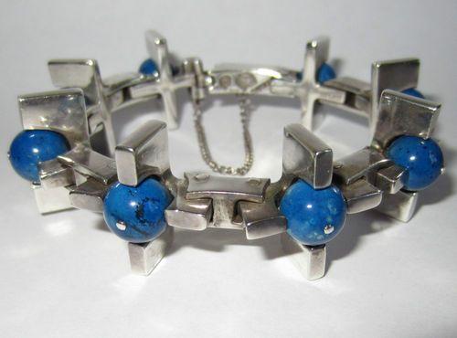 Antonio Pineda, Taxco Sterling Silver Lapis Modernist Bracelet