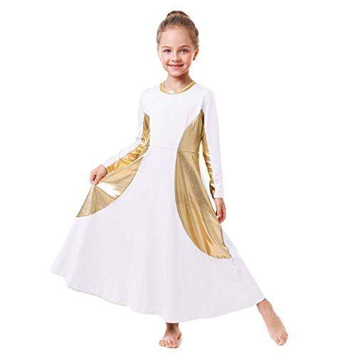 IBAKOM Girls Ruffle Praise Dance Robe Liturgical Worship Metallic Gold Dress Kids Loose Fit Full Length Tunic Dancewear