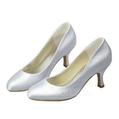 Frauen Satin Spule Absatz Geschlossene Zehe Absatzschuhe (047061854)
