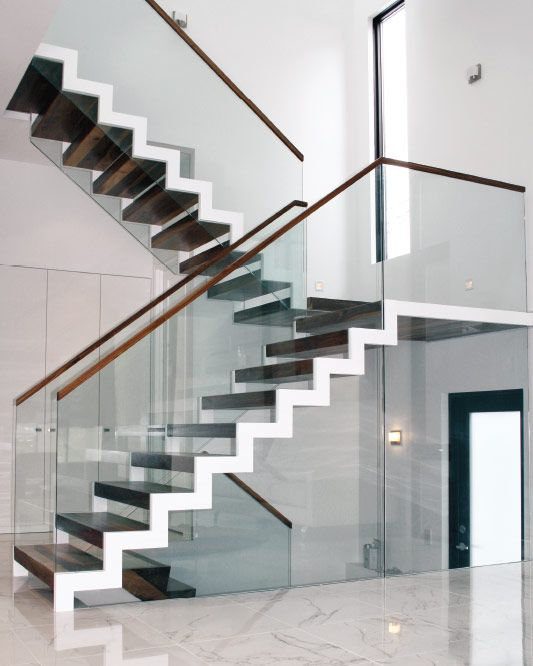 Zig Zag Staircase With Glass Balustrade Glass Staircase   Zig Zag Staircase Design   Stringer   Dual Staircase   Chain Staircase   Sawtooth   Steel