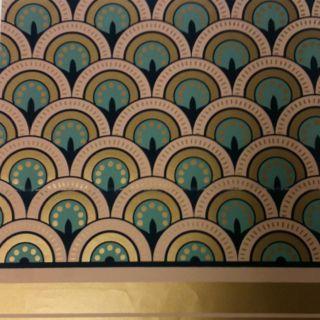 Handprinted Art Deco wallpaper.