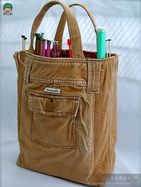 Te muestro ideas e inspiraci n para reciclar pantalones - Colgador de tela con bolsillos ...