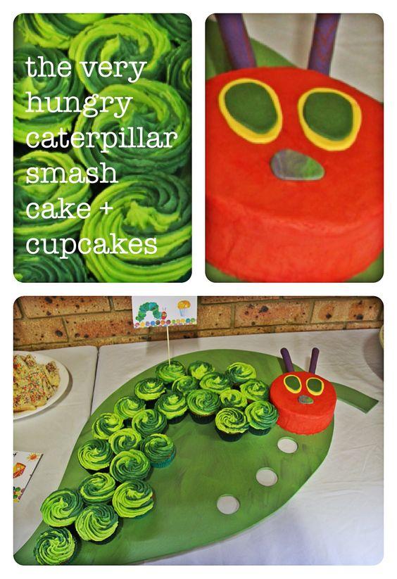 The very hungry caterpillar - smash cake & cupcakes for my nephews 1st Birthday