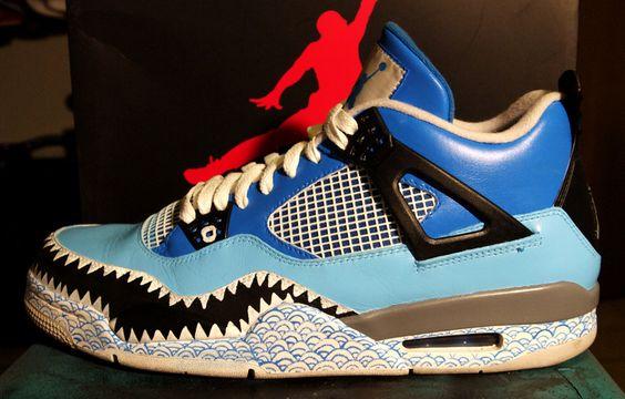 air jordan iv � shark custom custom sneakers pinterest