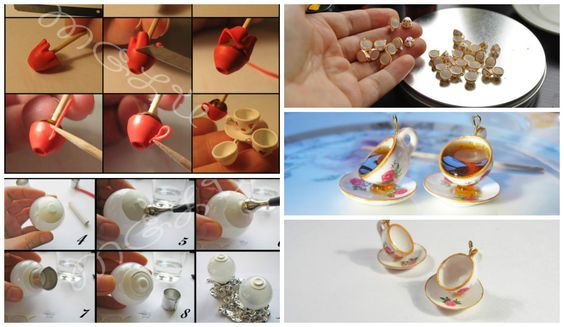 How to make miniature cups and saucers pendant The size of the cup - about 5x9 mm, the author's signature on the stems - like cups and saucers